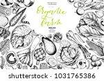 hand drawn farm vegetables.... | Shutterstock . vector #1031765386
