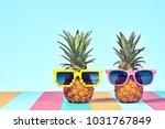 two hipster fruits in trendy... | Shutterstock . vector #1031767849