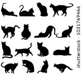 silhouette cats in black for... | Shutterstock . vector #1031769466