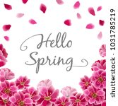 hello spring lettering on...   Shutterstock .eps vector #1031785219
