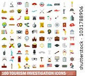 100 tourism investigation icons ...   Shutterstock . vector #1031788906