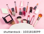 a pink leather make up bag with ...   Shutterstock . vector #1031818099