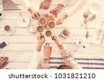 people drinking coffee concept | Shutterstock . vector #1031821210