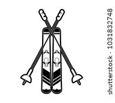 skis with poles  winter sports... | Shutterstock .eps vector #1031832748
