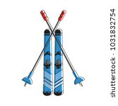 skis with poles  winter sports... | Shutterstock .eps vector #1031832754