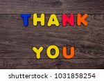 words thank you from wooden... | Shutterstock . vector #1031858254