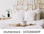 spring still life. breakfast in ... | Shutterstock . vector #1031860609