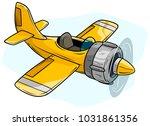 cartoon yellow retro airplane... | Shutterstock .eps vector #1031861356