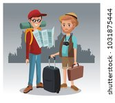 tourists in the city | Shutterstock .eps vector #1031875444