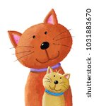 Stock photo acrylic illustration of cat and baby kitten 1031883670