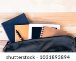 top view image of tablet  books ... | Shutterstock . vector #1031893894