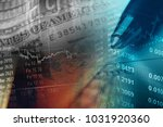financial data on a monitor.... | Shutterstock . vector #1031920360