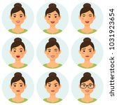 business woman flat avatars set ... | Shutterstock .eps vector #1031923654