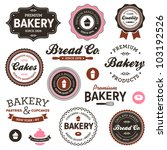 set of vintage retro bakery... | Shutterstock . vector #103192526