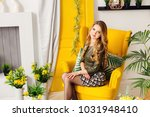 a woman with a beautiful... | Shutterstock . vector #1031948410