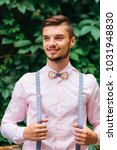 guy with wooden bow tie and... | Shutterstock . vector #1031948830
