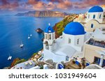 fira town on santorini island ... | Shutterstock . vector #1031949604