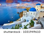 fira town on santorini island ... | Shutterstock . vector #1031949610