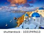 fira town on santorini island ... | Shutterstock . vector #1031949613