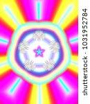 psychedelic neon glitch mandala ... | Shutterstock . vector #1031952784