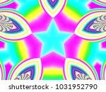 psychedelic neon glitch mandala ... | Shutterstock . vector #1031952790