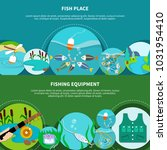 fishing equipment banners set... | Shutterstock . vector #1031954410