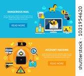 hacking flat horizontal banners ... | Shutterstock . vector #1031954620