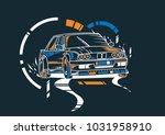 drift car illustration. unique...   Shutterstock .eps vector #1031958910