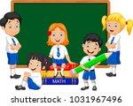 cartoon school kids studying in ... | Shutterstock .eps vector #1031967496
