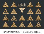 Stock vector vector celtic trinity knot items ethnic ornament geometric design vector illustration set 1031984818