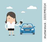 businesswoman holding a key of... | Shutterstock .eps vector #1031990314