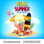 hello summer let us enjoy every ... | Shutterstock .eps vector #1032001033