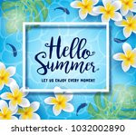 hello summer let us enjoy every ... | Shutterstock .eps vector #1032002890