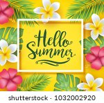 hello summer greeting inside... | Shutterstock .eps vector #1032002920