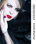 beautiful woman with red lips ... | Shutterstock . vector #103200380