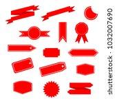 set of red ribbon | Shutterstock .eps vector #1032007690