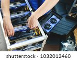 farm graphics cards for mining... | Shutterstock . vector #1032012460