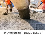 workers pouring concrete slab... | Shutterstock . vector #1032016633