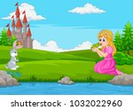 cartoon princess kissing a... | Shutterstock .eps vector #1032022960