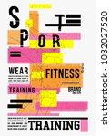 t shirt design sports wear... | Shutterstock .eps vector #1032027520