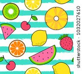 colorful tropical fruits... | Shutterstock .eps vector #1032027610