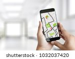 gps map to route destination... | Shutterstock . vector #1032037420