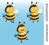 bee cartoon  stickers  funny... | Shutterstock .eps vector #1032049318