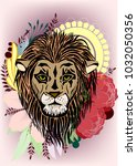 lion in floral ornament. this... | Shutterstock .eps vector #1032050356