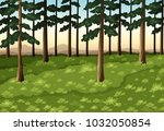 background scene with trees in... | Shutterstock .eps vector #1032050854
