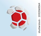 ball shaped of flag  japan flag ... | Shutterstock .eps vector #1032060064