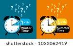 daylight saving time date... | Shutterstock . vector #1032062419