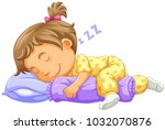 girl toddler sleeping on blue... | Shutterstock .eps vector #1032070876