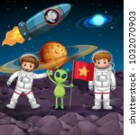 space theme with two astronauts ... | Shutterstock .eps vector #1032070903