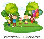 family with three kids playing... | Shutterstock .eps vector #1032070906